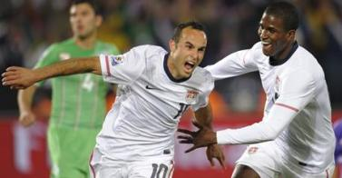 Landon Donovan celebrates his game winning goal against Algeria at the 2010 World Cup.